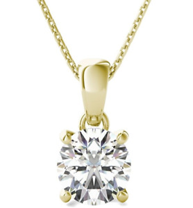 1 Ct Solitaire Round Diamond Pendant Necklace 6MM with Chain 14k Yellow Gold