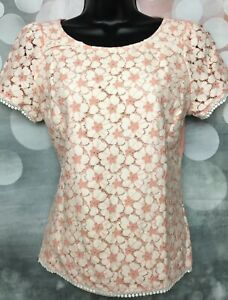OASIS S 8-10 Vgc Peach White Lace Front Jersey Short Sleeve Tunic Blouse Top