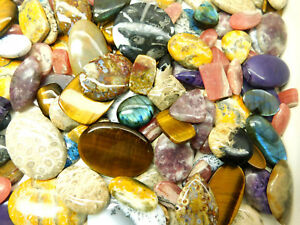 Natural Dendrite Opal Tiger Eye Mix Cabochon Loose Gemstone Mix Lot