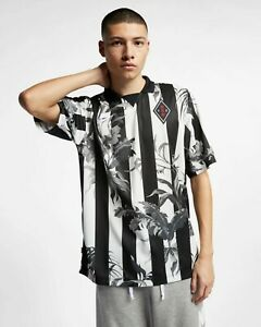 Nike NSW Floral Football T-Shirt New Men's Black White Active Wear AR1620-010