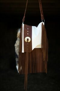 Western Cross Body Distressed Leather Handbag Rodeo Purse w Fringe Bag VT-1002