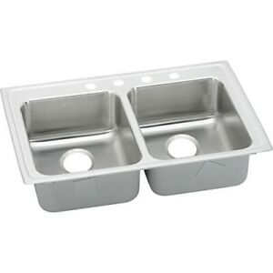 Elkay Gourmet 3-Hole 29-Inch X 22-Inch Double Basin Stainless Steel Kitchen Sink