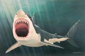 Great White Shark Oil Painting Seascape Original Large Canvas Wall Art by John G $1295.00