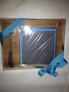 small wood cutting board with napkins