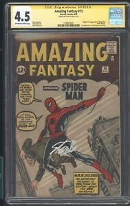 Amazing Fantasy 15 862 CGC 4.5 SS STAN LEE 1ST APP OF SPIDER-MAN NO CHIPPING