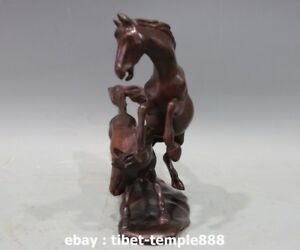 9 Red Wood Handwork Carving Chinese Zodiac Fengshui Animal Two Horse sculpture