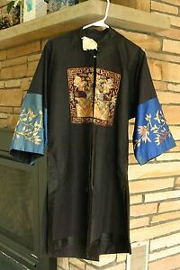 Ex Museum Piece Antique Chinese dragon Silk Gown with  Civil Rank Badges