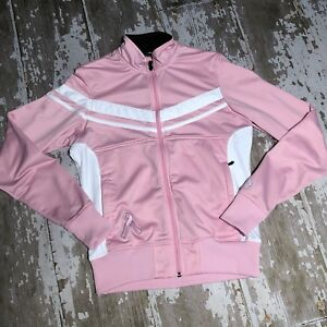 Brooks For Women Track Jacket Zip Pink Embroidered Breast Cancer Ribbon Medium M