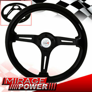 Type-R Horn Button + 345MM Deep Dish Steering Wheel Black Center Black Wood