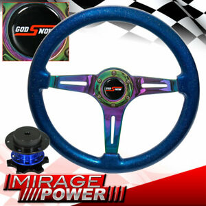Metallic Blue Wood Grain Neo Chrome Center Steering Wheel + Blue Quick Release