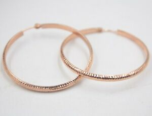 Au750 Fine 18K Rose Gold Earrings Woman 3mmW Lucky Big Hoop 35mmDia Carved New