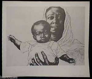 """MOTHER & CHILD"" LITHOGRAPH BY CHARLES WHITE"