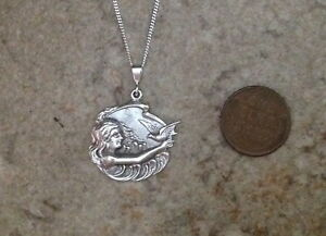 Sterling silver mermaid lady picture bird ocean 18 pendant vintage button charm $164.95