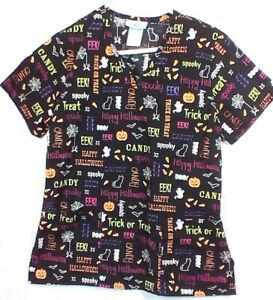 SB SCRUBS Scrub Top Small Halloween Black Multi Candy Pumpkin Trick Treat #289