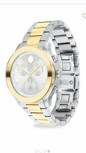 MOVADO BOLD STAINLESS STEEL BRACELET WATCH SILVER AND GOLD 39MM In Size