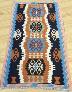 Semi Antique Anatolian Turkish Hand Knotted Flat Weave Kilim Rug 3 x 5 Ft