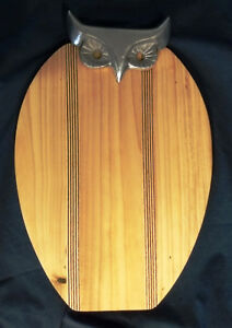 OWL Serving / Meat and Cheese Wood Carving Cutting Board With Metal Head - Nice