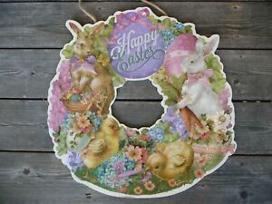 BEAUTIFUL NEW VINTAGE STYLE EASTER BUNNY DIE CUT WREATH WITH GLITTER $34.99