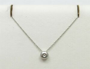 14K White Gold Diamond Accent Bezel Set Solitaire Pendant Necklace 18