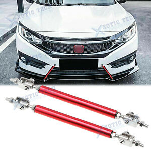 Red Adjust Front Bumper Lip Splitter Strut Rod Tie Support Bars For Honda 8 11