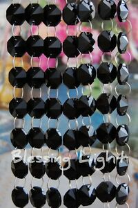 Black - Lead Glass Crystal - Octagon Chandelier - Prisms Chains