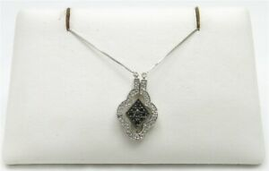 14K White Gold ~15CTW BlackWhite Diamond Magnetic Folding Pendant Necklace