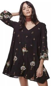 Free People Oxford Black Embroidered Cut Out Swing Dress Small Austin Emma