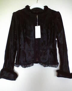 BNWT VALENTINO JEWELLED BEADED BROADTAIL LACE FUR MINK TRIM JACKET 42 6 ROCKSTUD