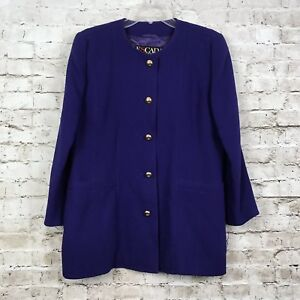Escada 42 Large Wool Purple Designer Blazer Jacket Gold Buttons Vintage Germany