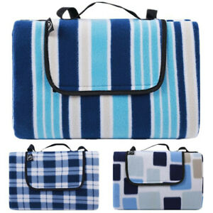 REDCAMP Extra Large Fleece Lawn Picnic Blanket W/ Carry Strap Waterproof 79