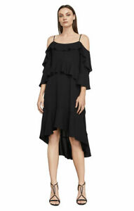 NWT BCBG MAX AZRIA $268 BLACK LORELIE HIGH LOW TIERED RUFFLE DRESS SZ XS