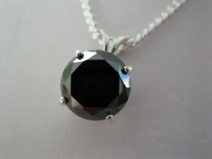 3.95ct NATURAL BLACK DIAMOND PENDANT NECKLACECERTIFICATEFREE DIAMOND TESTER