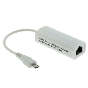 Micro USB 2.0 to Ethernet 100Mbps RJ45 Network Lan Adapter Card Connector