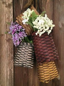 NEW!!! Primitive Country Farmhouse Handmade Grungy Hanging Baskets /Three Colors