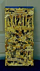 ANTIQUE CHINESE WOOD CARVED PIERCED GILT TEMPLE PANEL OF WARRIORS ON HORSES $750.00