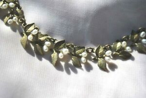 Flowering Myrtle Set Bracelet Earrings Necklace by Michael Michaud Bronze Pearl