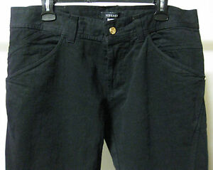 Versace Black Jeans Couture Made In Italy Gianni 38 Gold Medusa Logo