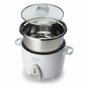 Aroma Simply Stainless Rice Cooker White [Cooks 3 cups of uncooked rice]