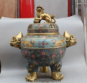 28China Palace Bronze Gilt Cloisonne Dragon Unicorn Bronze Lion Incense Burner