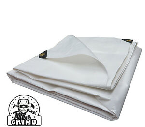 WHITE PREMIUM 14 MIL REINFORCED EXTREME HEAVY DUTY POLY TARP CHOOSE YOUR SIZE $49.25