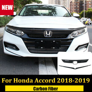 FOR 2018 2019 HONDA ACCORD CARBON FIBER FRONT GRILL MOLDING TRIM + EYELID COVER