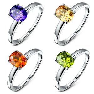 Women's Stainless Steel Oval Cubic Zirconia Solitaire Wedding Engagement Ring
