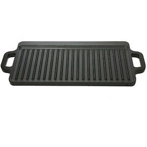 Cast Iron Griddle Small Outdoor Camping Kitchen Cookware Durable Large Handles