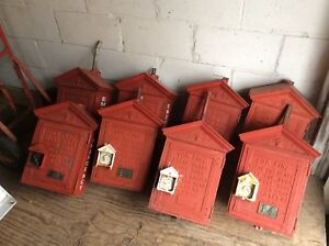 Lot Of 8 Antique GAMEWELL Cast Iron Fire Alarm Call Boxes - Very Good