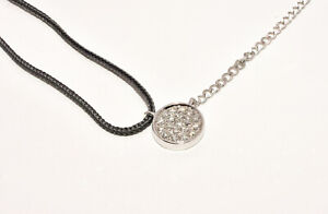 Round Diamond Pendant Necklace in 14K White Gold and Black Silk Cord UNIQUE