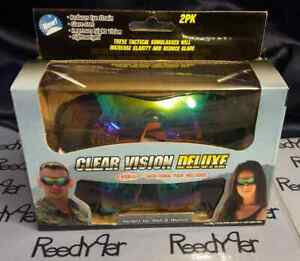 2 pair Clear Vision Deluxe Day  Night TACTICAL SUNGLASSES Driving AS SEEN ON TV