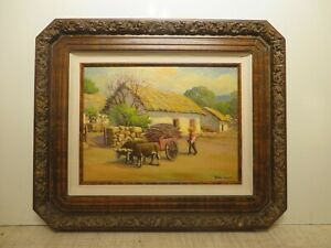 12x16 org. 1920 oil painting by Rolla Taylor of Ox Carriage in Street of Mexico