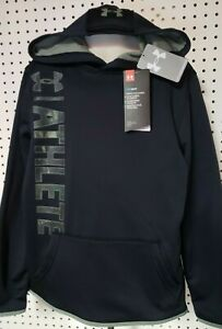 Boys Kids Youth UNDER ARMOUR Long Sleeve Pullover Hoodie NEW Black Camo Small