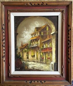 Original Signed Oil Painting Cityscape 24.5