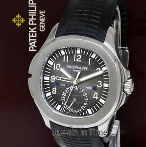 Patek Philippe 5164 Aquanaut Dual Time Steel & Rubber Watch BoxPapers 5164A